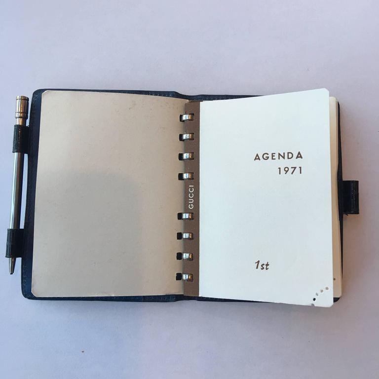 Gucci Rare Gucci Alligator Address Book With Blue Interior 10Ak4QpV