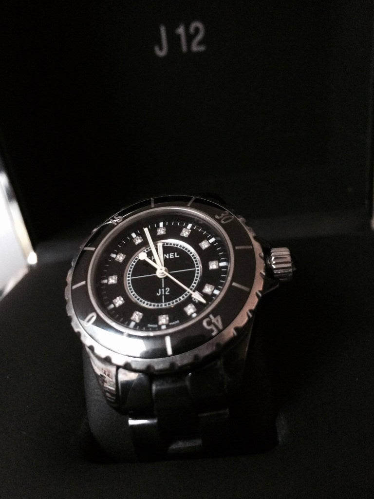 Chanel J12 Black Ceramic Automatic Watch H1626 In Good Condition For Sale In Los Angeles, CA
