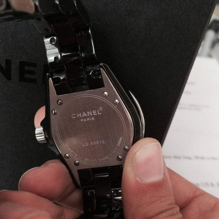 Women's or Men's Chanel J12 Black Ceramic Automatic Watch H1626 For Sale