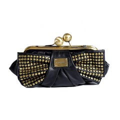 Fiorelli Black Leather Brass Stud Bow Handbag