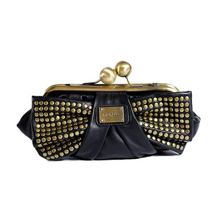 Fiorelli Black Leather Brass Stud Bow Handbag For