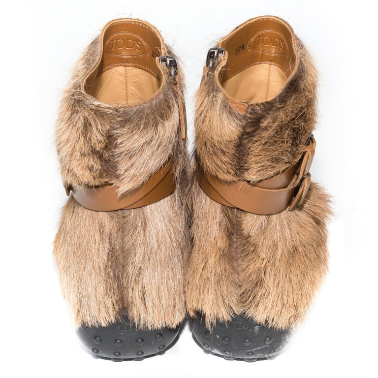 Beige Tod's Goat Fur and Leather Buckle Boots For Sale