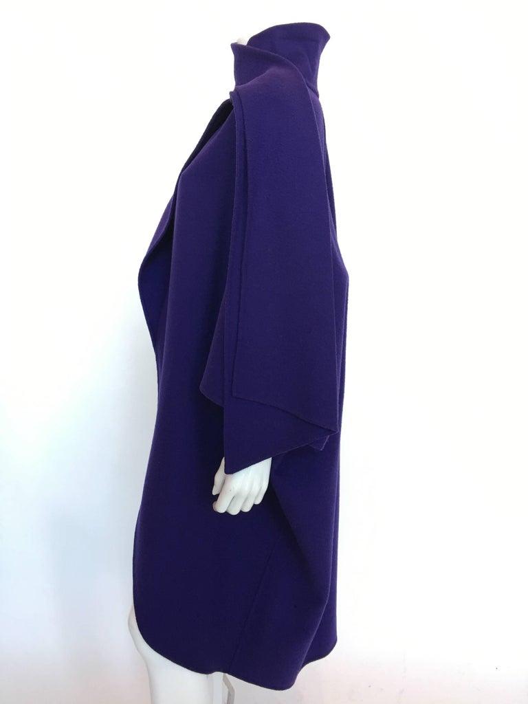 Ferragamo Purple Wool Cape Style Coat with a wrap tie at neck. Circa 1980's