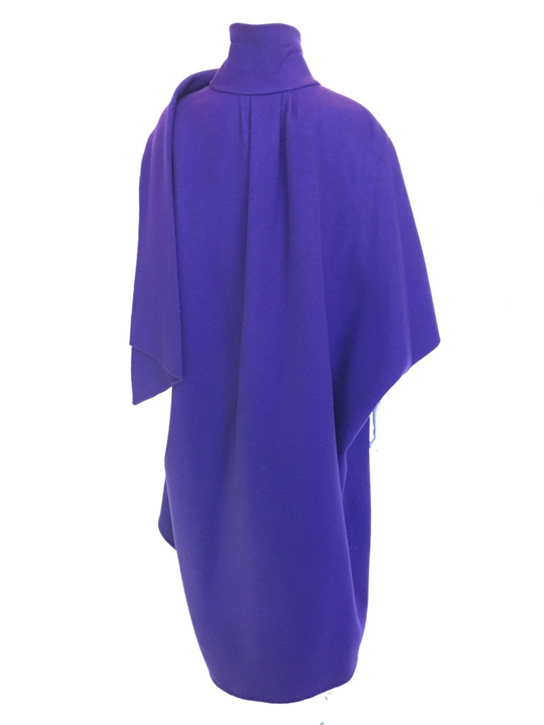 Ferragamo Purple Wool Cape Style Coat For Sale 1