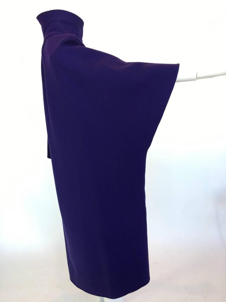 Ferragamo Purple Wool Cape Style Coat In Good Condition For Sale In Los Angeles, CA