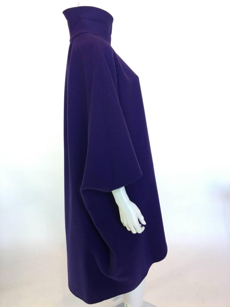Ferragamo Purple Wool Cape Style Coat For Sale 2