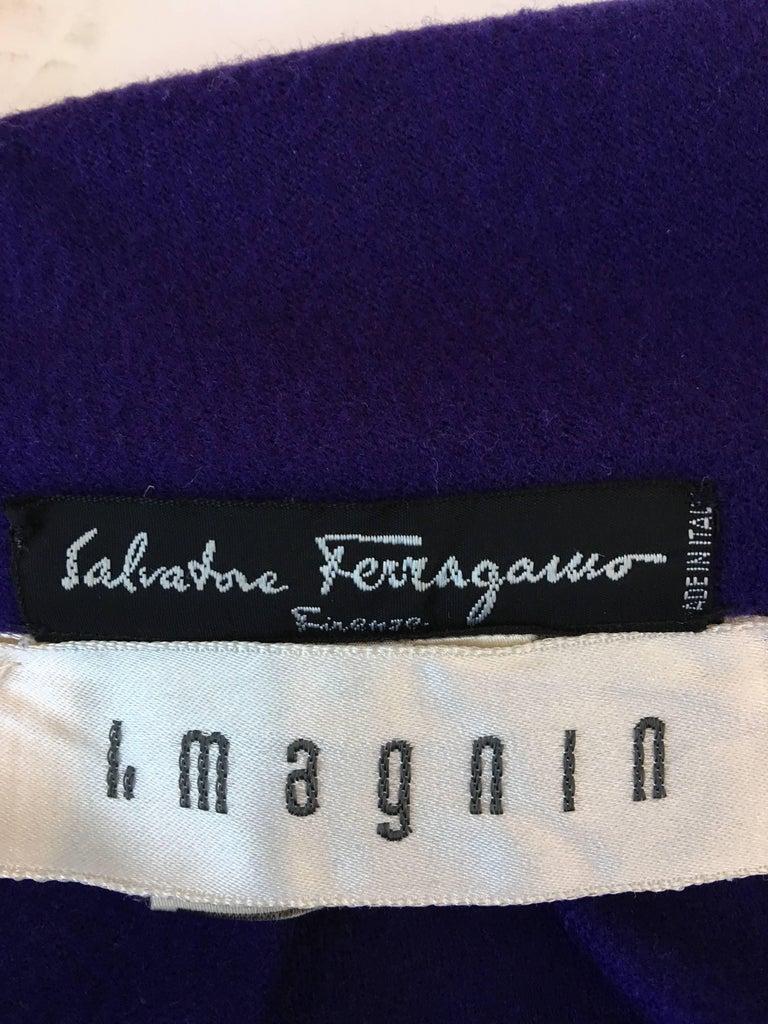 Ferragamo Purple Wool Cape Style Coat For Sale 3