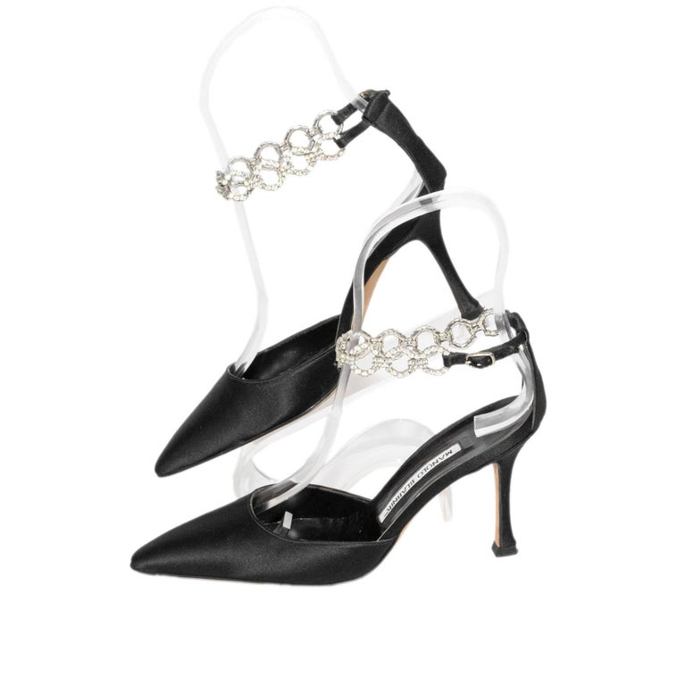 Manolo Blahnik Black Satin Pointy Toe Heel With Rhinestone Ankle Strap  Size 35 1/2  3 Inch Heel  In very good condition.