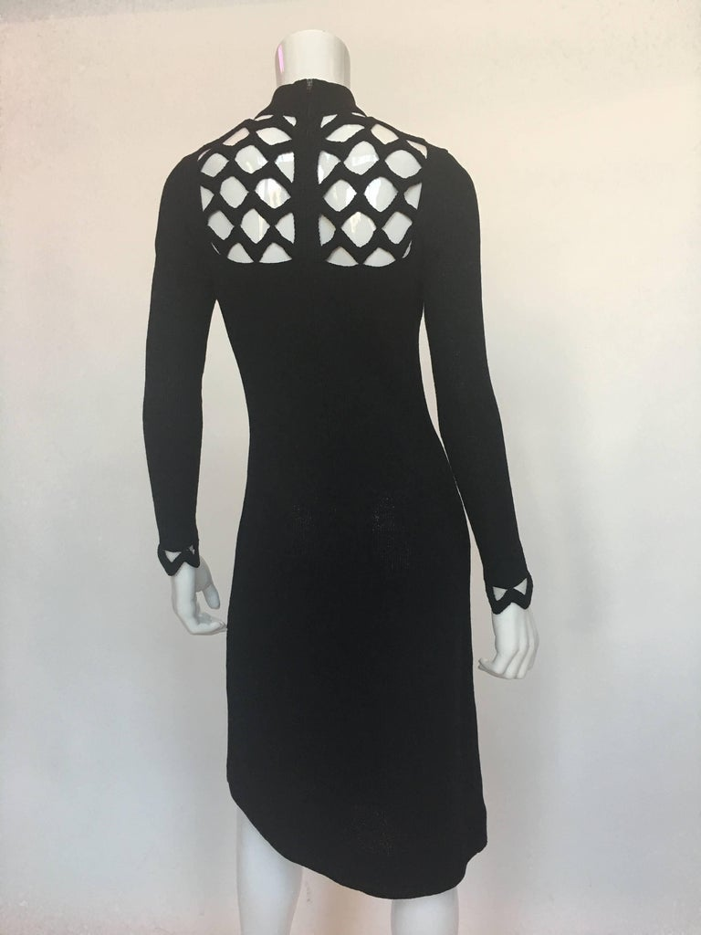 Adolfo at Saks Fifth Avenue Black Knit Lattice Dress, 1970s  In Good Condition For Sale In Los Angeles, CA