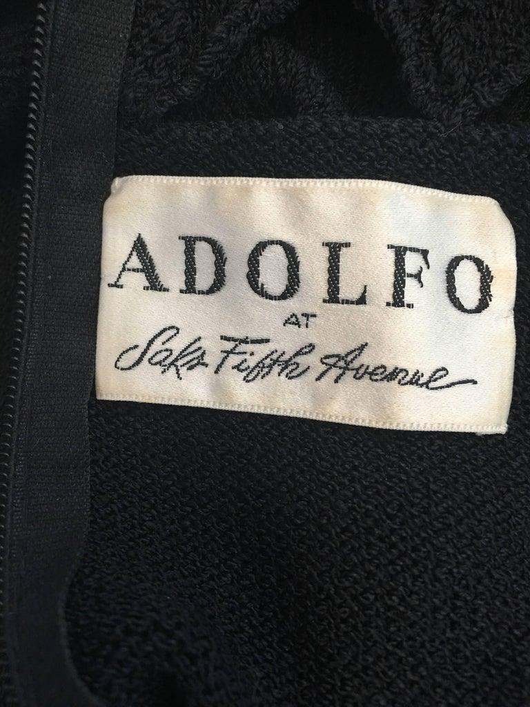 Adolfo at Saks Fifth Avenue Black Knit Lattice Dress, 1970s  For Sale 2