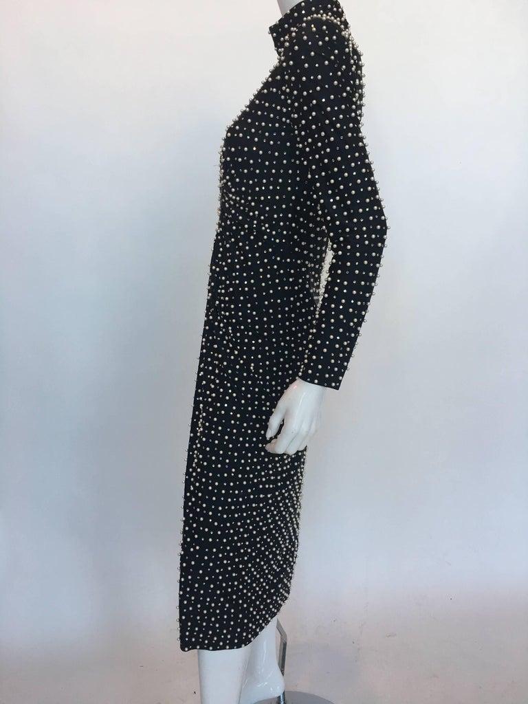 Lillie Rubin Pearl Encrusted Dress, 1980s  For Sale 1