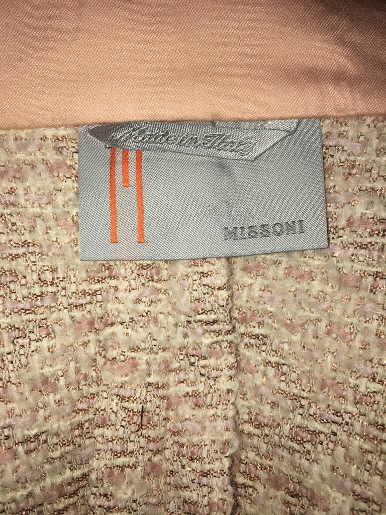 Missoni Wool Dusty Rose & Ivory Woven Jacket With Metallic Thread For Sale 5