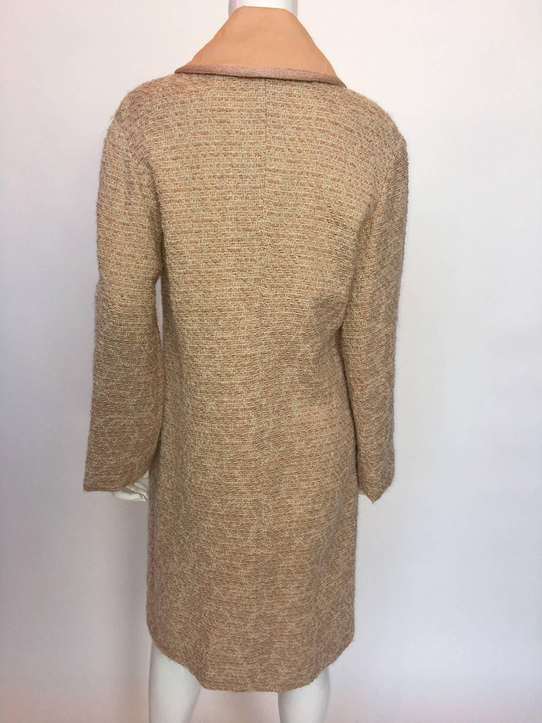Brown Missoni Wool Dusty Rose & Ivory Woven Jacket With Metallic Thread For Sale