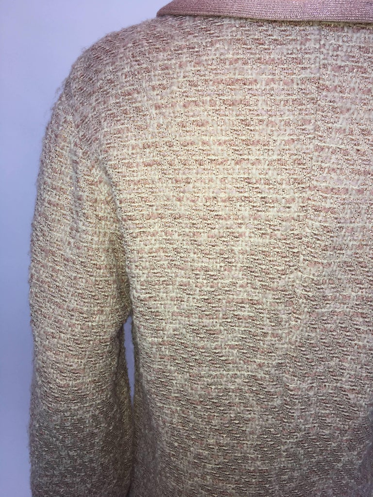Missoni Wool Dusty Rose & Ivory Woven Jacket With Metallic Thread For Sale 2