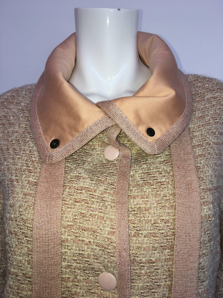 Missoni Wool Dusty Rose & Ivory Woven Jacket With Metallic Thread In Good Condition For Sale In Los Angeles, CA