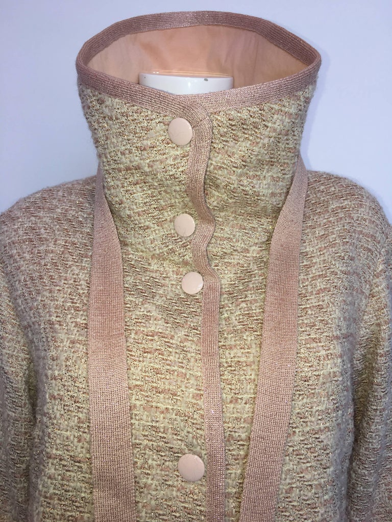 Missoni Wool Dusty Rose & Ivory Woven Jacket With Metallic Thread For Sale 1
