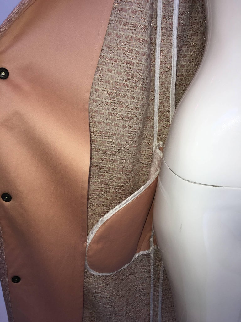 Missoni Wool Dusty Rose & Ivory Woven Jacket With Metallic Thread For Sale 4