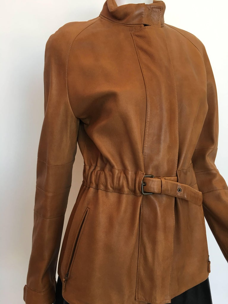Burberry Possum Camel Colored Leather Jacket 2