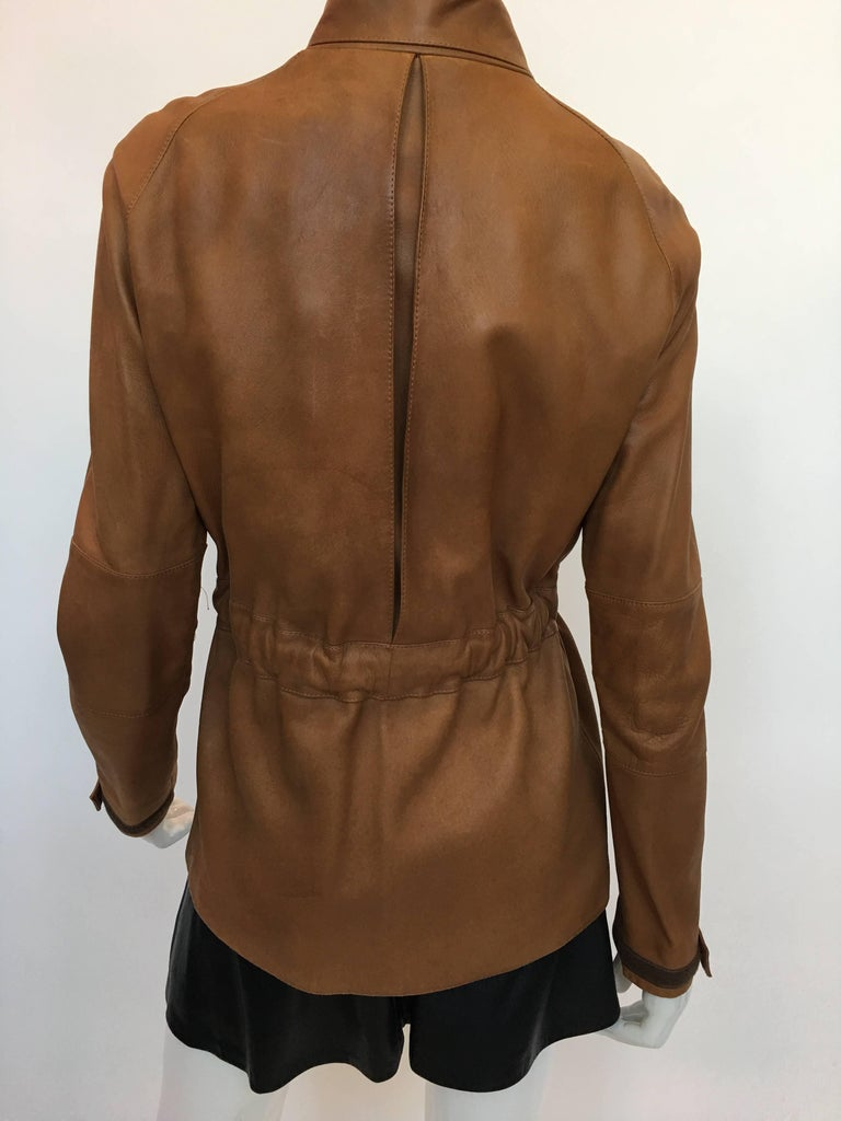 Burberry Possum Camel Colored Leather Jacket 3