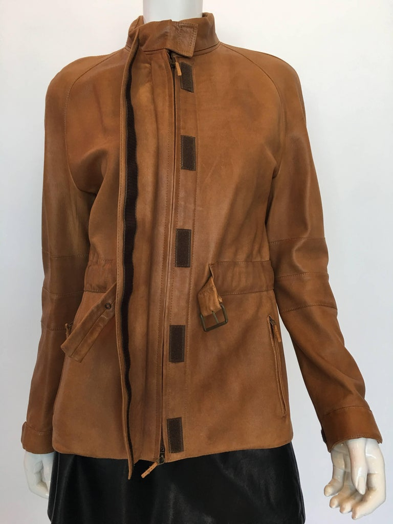 Burberry Possum Camel Colored Leather Jacket 7