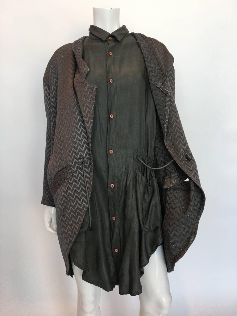 1980s Marithe + Francois Girbaud Oversized Grey Jacquard Jacket & Shirt Set In Good Condition For Sale In Los Angeles, CA