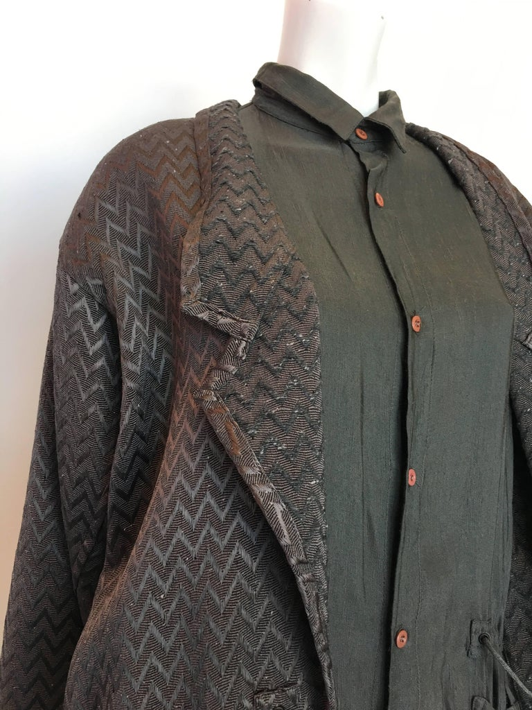 Women's or Men's 1980s Marithe + Francois Girbaud Oversized Grey Jacquard Jacket & Shirt Set For Sale