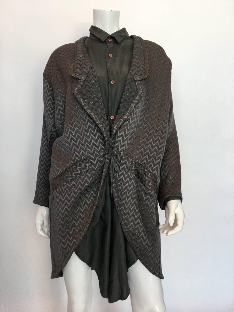1980s Marithe + Francois Girbaud Oversized Grey Jacquard Jacket & Shirt Set For Sale 1