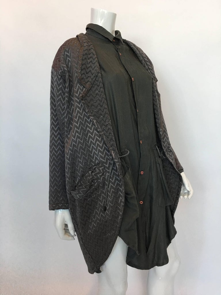 1980s Marithe + Francois Girbaud Oversized Grey Jacquard Jacket & Shirt Set w/ Drawstring   Made in Spain Size label: S *Jacket and shirt are separate pieces but stay attached via drawstring *Jacket has shoulder pads  Measurements (taken