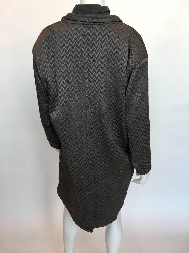 Black 1980s Marithe + Francois Girbaud Oversized Grey Jacquard Jacket & Shirt Set For Sale