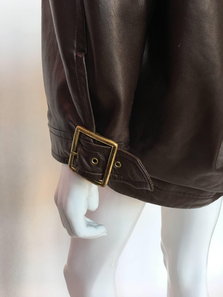 1990s Isaac Mizrahi Oversized Dark Brown Leather Jacket with Built in Backpack In Good Condition For Sale In Los Angeles, CA