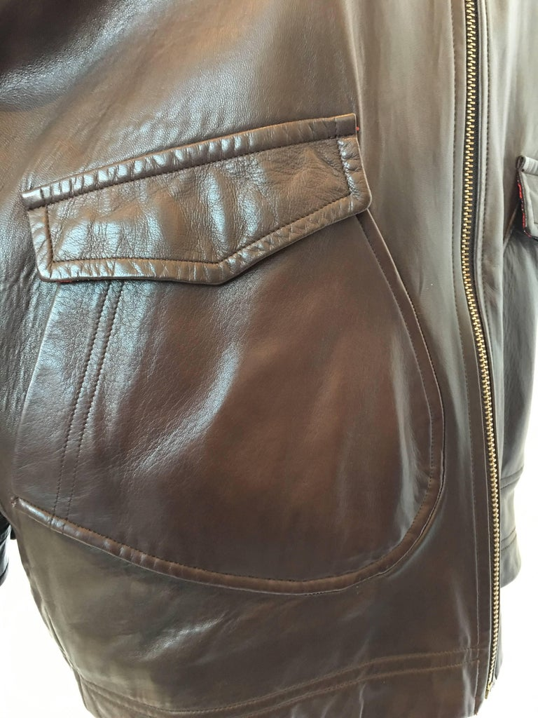 1990s Isaac Mizrahi Oversized Dark Brown Leather Jacket with Built in Backpack For Sale 2