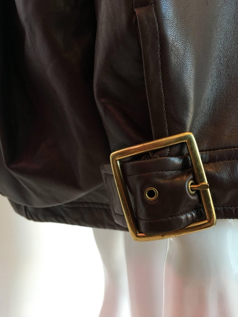 Women's or Men's 1990s Isaac Mizrahi Oversized Dark Brown Leather Jacket with Built in Backpack For Sale