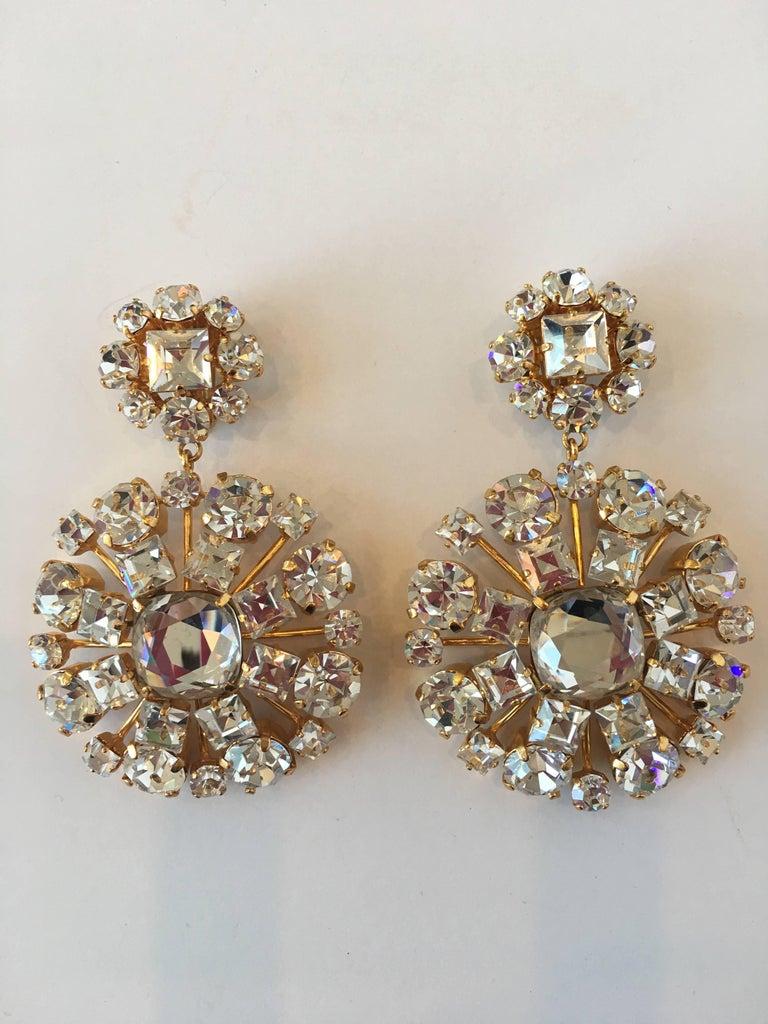 1980s Yves Saint Laurent Large Crystal & Gold Tone Drop Chandelier Clip Earrings 2