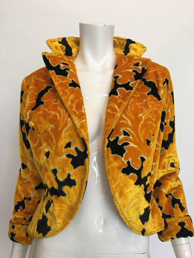 Rudi Gernreich Yellow and Black Velvet Brocade Cropped Jacket, 1960s