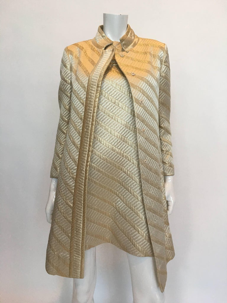 Mod Jackie O Style Gold Matching Coat and Dress 2 Piece Ensemble, 1960s