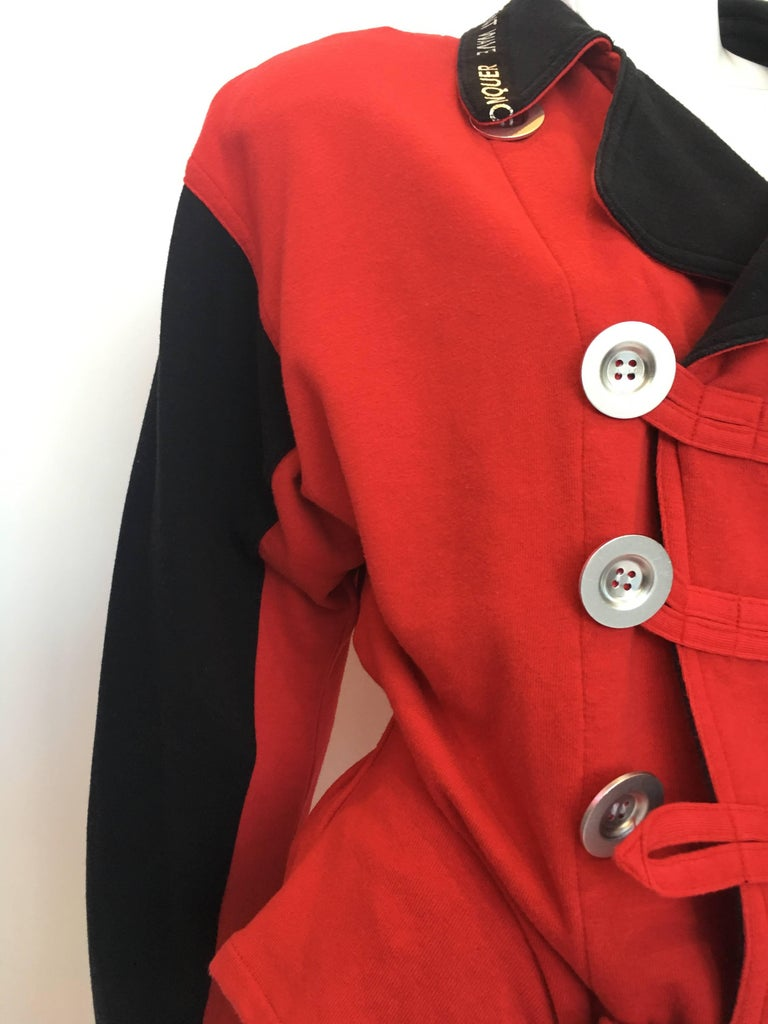 1990s Kansai Yamamoto Red & Black Cotton Moto Style Zip Jacket 4