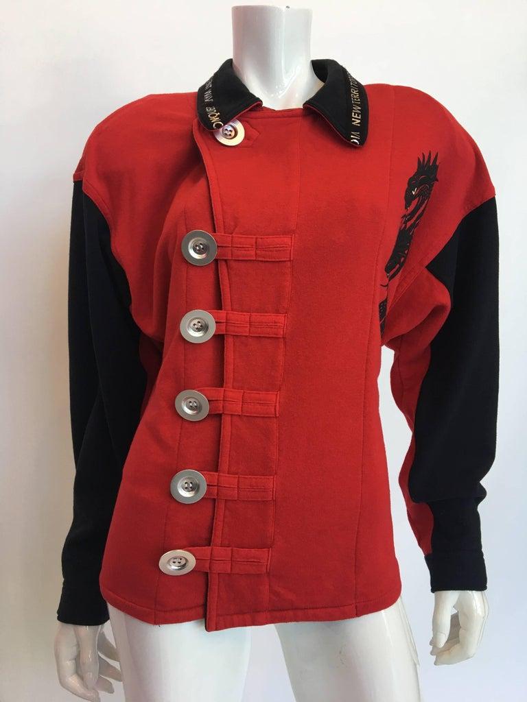 1990s Kansai Yamamoto Red & Black Cotton Moto Style Zip Jacket 3