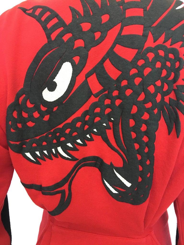 1990s Kansai Yamamoto Red & Black Cotton Moto Style Zip Jacket 2
