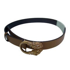 Gucci Gilt Metal Tiger Buckle Caramel Leather Belt Size 28