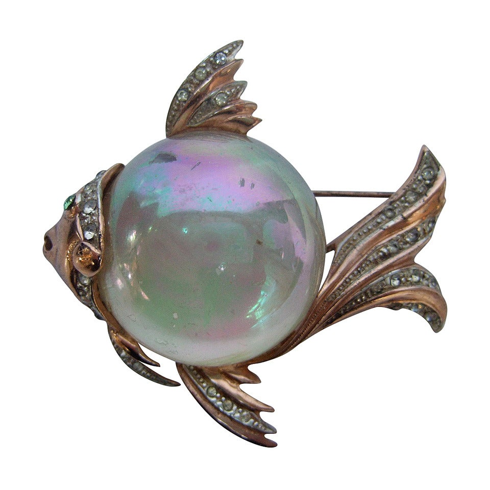 Coro Sterling Jelly Belly Massive Fish Brooch c 1950 1