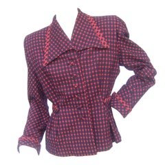 1940s Fabulous Red & Blue Wool Checked Jacket