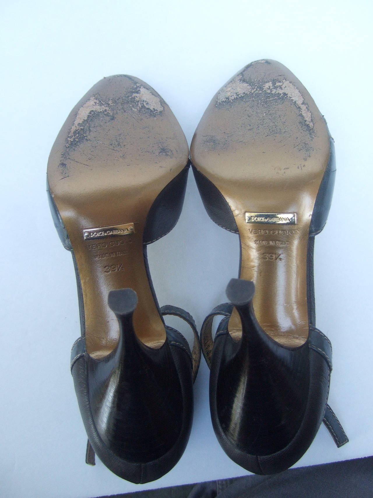 Dolce & Gabbana Gray & Brown Ankle Strap Shoes Size 39.5 Made in Italy For Sale 4
