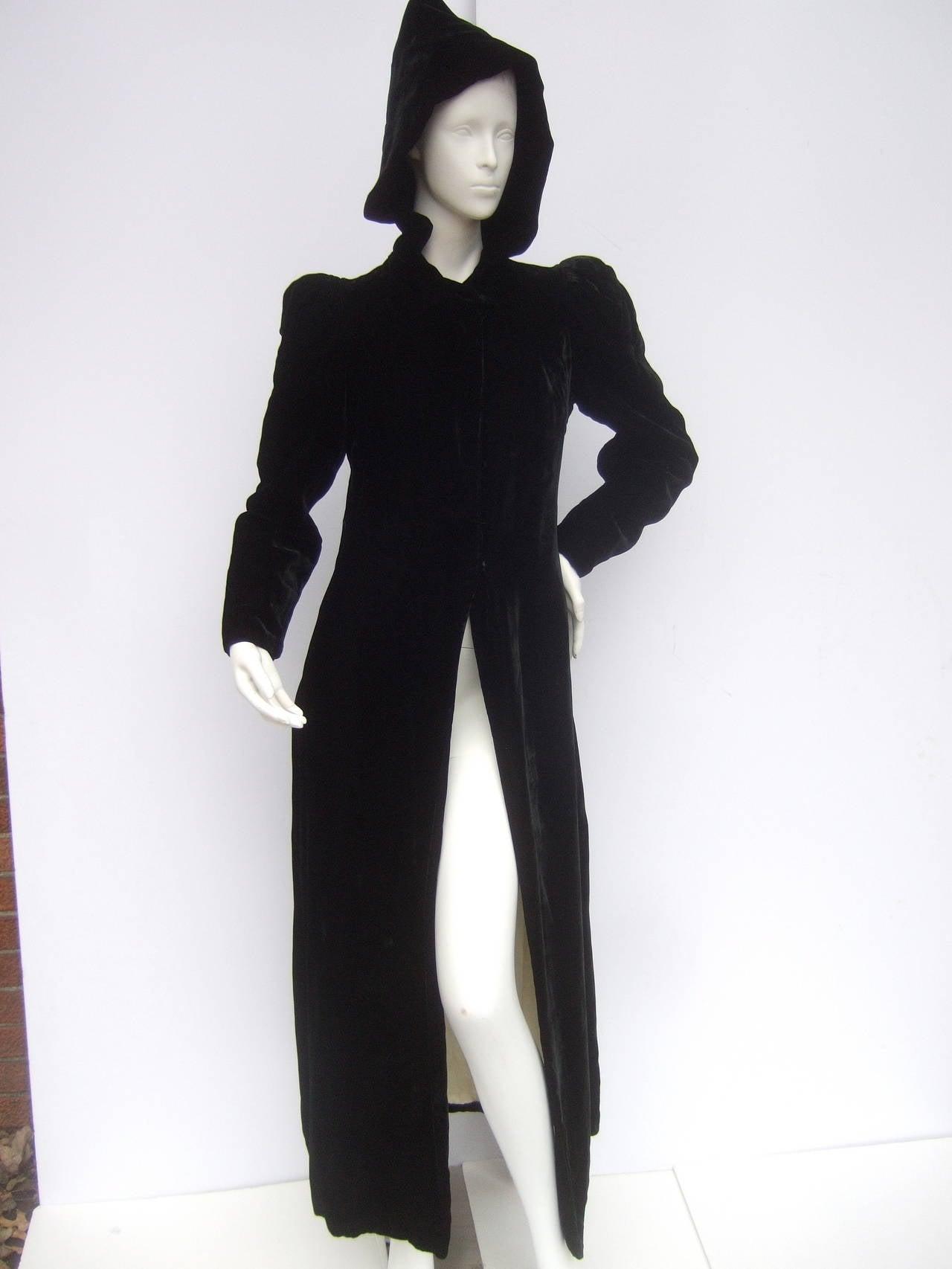 Dramatic Black Silk Velvet Hooded Evening Coat C 1960 For