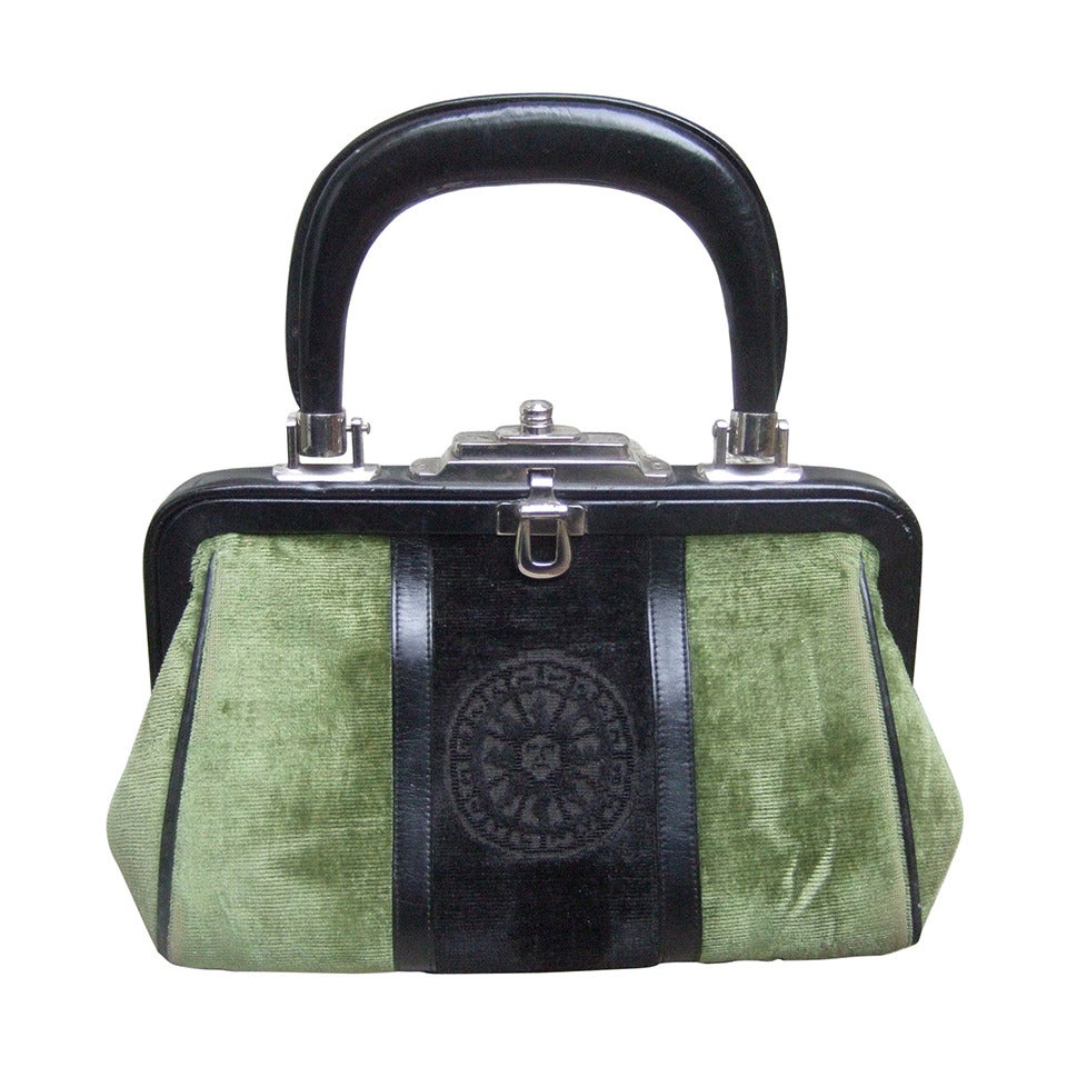 Roberta Di Camerino Moss Green & Ebony Velvet Handbag Made in Italy For Sale