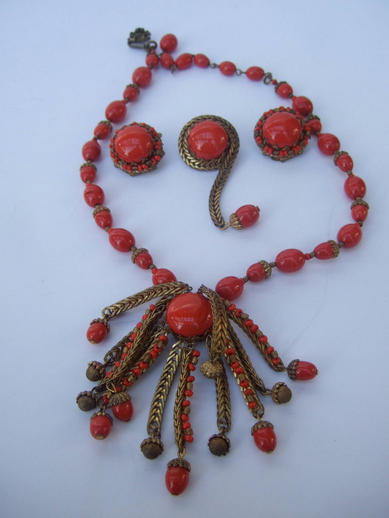 haskel jewelry miriam haskell crimson glass beaded necklace brooch and 5854