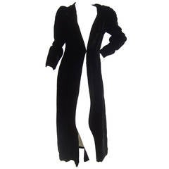 Dramatic Black Silk Velvet Hooded Evening Coat c 1960
