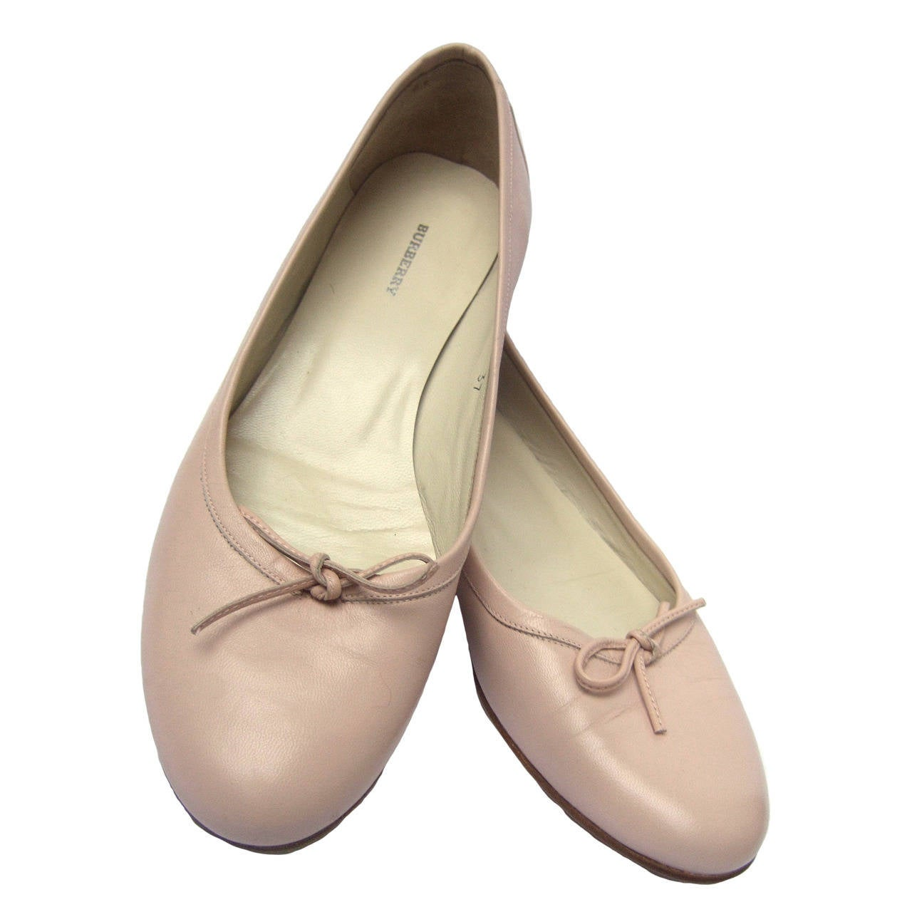 Burberry Blush Pink Leather Ballet Style Flats Size 37 For Sale