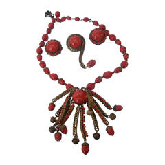 Miriam Haskell Crimson Glass Beaded Necklace Brooch & Earrings c 1960