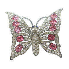 1940s Massive Glittering Crystal Butterfly Brooch