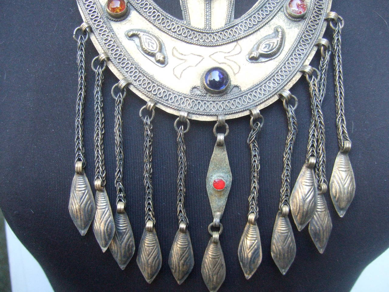 Massive Egyptian Revival Style Jeweled Serpent Ceremonial Necklace In Excellent Condition For Sale In Santa Barbara, CA